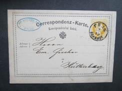 GANZSACHE Korrespondenzkarte Wien - Kuttenberg Dotzauer 1872/// D*27768 - Briefe U. Dokumente