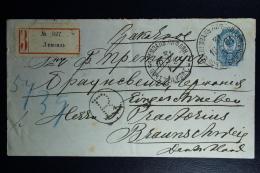 Russian Latvia : Stationary Cover Mi Nr U35 A  1901 Lemsalto Braunschweig Registered - 1857-1916 Imperium