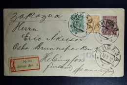 Russian Latvia : Stationary Registered Cover Mi Nr U 42B Uprated 1912 Kurland Libau To Helsingfors Helsinki Waxed Sealed - 1857-1916 Imperium