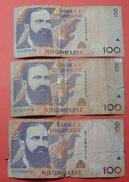 ALBANIA  LOT 3 X 100 LEKE 1996, NOT IN USE - Albania