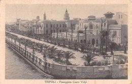 """06689 """"LIBIA - TRIPOLI - PASSEGGIATA CONTE VOLPI""""  BOLLO COLONIE ITALIANE. CART  SPED 1926 - Libya"""