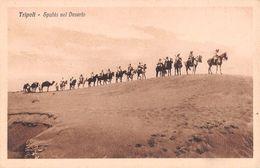 "06690 ""LIBIA - TRIPOLI - SPAHIS NEL DESERTO""  ANIMATA, CAVALLI, FOTO BRAGONI. CART  NON SPED - Libia"