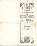 D301  Menu Du Banquet De La Ste Cécile Du 25 Novembre 1950 à Selles Sur Cher - Menus