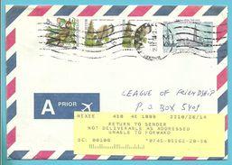 2190+2695 Op Brief Stempel BRUXELLES Naar U.S.A. Strookje RETURN TO SENDER - 1985-.. Vögel (Buzin)