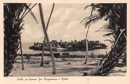 "06696 ""SOMALIA 1934 - ISOLA DI GESIRA FRA MOGADISCIO E MERKA"" PANORAMA, CIRCO 14 MILANO. CART SPED 1950 - Somalia"