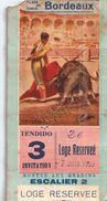 Billet De Corrida 07/05/1953 PLAZA DE TOROS De Bordeaux 33 - Scans Recto-verso - Tickets D'entrée