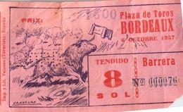 Billet De Corrida 06/10/1957 PLAZA DE TOROS De Bordeaux 33 - Scans Recto-verso - Tickets D'entrée