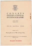 Program * Congrès International D'Ethnographie * Santo Tirso * Portugal * 1963 - Programmes