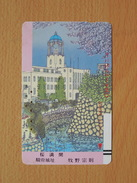 Japon Japan Free Front Bar, Balken Phonecard - 110-5103 / Cherry Tree In Full Blossom / Ruins Of The Sunpu Castle / - Japon