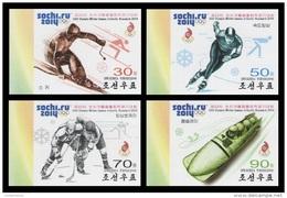 North Korea 2014 Mih. 6073B/76B Olympic Winter Games In Sochi. Hockey. Speed Skating. Bobsleigh (imperf) MNH ** - Korea (Nord-)