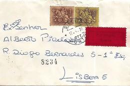 """Portugal 1970 Carta Com Etiqueta Vermelha """"Por Próprio // Exprès"""" De Porto Para Lisboa - Portugal"""
