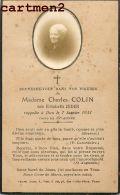 FAIRE-PART DECES DE MADAME CHARLES COLIN NE ELISABETH ZEDER - Décès