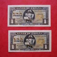 ESPAGNE BILLETS 2 X 1 PESETA 1940. CONSECUTIVOS. AUNCIRCULATED BANKNOTES. SPAIN. - [ 3] 1936-1975 : Régence De Franco