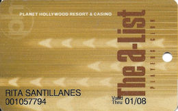 Planet Hollywood Casino Las Vegas, NV - Slot Card With Flat Lettering - Casino Cards