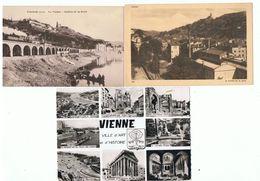 VIENNE - 38 - LOT 2 CPA + 1 CPSM - MULTI VUES , VALLEE De La GERE , VIADUC COLLINE De La BATIE  Train à Vapeur - Vienne