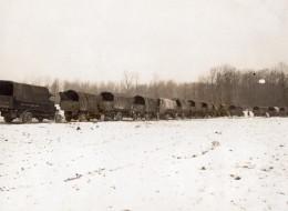 France WWI Front De L'Ouest Ligne De Camions Militaires Ravitaillement Ancienne Photo 1914-1918 - Guerre, Militaire