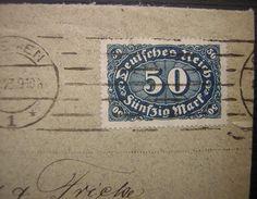 Deutsches Reich 50 Mark Michel 246b (gris Bleu) Sur Lettre Pour Hannover De Bremen - Lettres & Documents