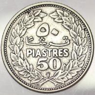 50 PIASTRES 1952 LIBANO LEBANON KM 17 ARGENTO SILVER #5688 - Libano