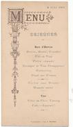 MONTRICHARD, Loir Et Cher - Déjeuner 1901 - Menus