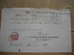 Fine Barbe N°57 Oblitération GRAMMONT Sur Reçu LE DIRECTEUR DE L'OEUVRE DE SAINT-CHARLES à GRAMMONT - 1893-1900 Fine Barbe