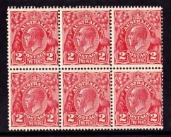 Australia 1930 King George V 2d Golden Scarlet Small Multi P 131/2 INVERTED Wmk Block Of 6 MNH - 1913-36 George V: Heads