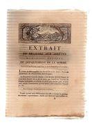 Extrait Du Registre Aux Arrêtés Du Conseil Général Du Département De La Somme.19 Février 1793.dix Pages.CARON Imp. - Picardie - Nord-Pas-de-Calais