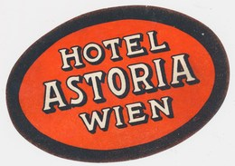 WIENA -  HOTEL ASTORIA - Old HOTEL LUGGAGE LABEL ETIQUETTE ETICHETTA BAGAGE - Hotel Labels