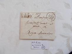 BASSES ALPES.PLI.CACHET RIEZ.ANNEE 1831.DATEUR.PORT PAYE. - 1801-1848: Précurseurs XIX