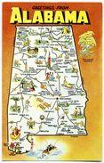 CPSM Format CPA Etats Unis Alabama Carte De L'Etat - Etats-Unis