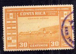 COSTA RICA 1946 AIR MAIL Caribbean And Central American Soccer Championship CALCIO FOOTBALL CENT. 30 USATO USED OBLITERE - Costa Rica