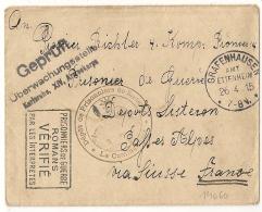 SISTERON Basses Alpes DEPOT De PRISONNIERS DE GUERRE. Censure KARLSRUHE. Visé ROMANS. Origine GRAFENHAUSEN. - Guerre De 1914-18