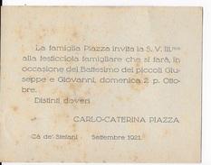 INVITO A FESTICCIOLA FAMIGLIARE PER BATTESIMO 1921 - Nascita & Battesimo