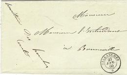 """1860-  SAVOIE - Cad  De SALLANCHES  En Franchise """" Le Secrétaire Des Houches """" - Marcofilia (sobres)"""