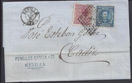 ESPAGNE - Lettre De Sevilla Du 10 Janvier 1878 Pour Cadiz - TB - - 1875-1882 Reino: Alfonso XII