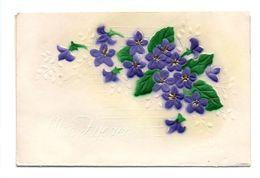 Carte Double Gaufree Avec Violettes, Moc Zyczen, Bon Anniversaire, Pologne (17-1865) - Anniversaire