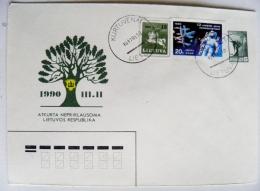 Cover Lithuania 1990 Special Cancel Lietuvos Respublikos Pastas Kurtuvenai Mixed Ussr Stamp Space Astronaut - Lithuania