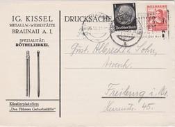 AUTIRCHE 1938 LETTRE DE BRAUNAU AFFRANCHISSEMENT MIXTE - Ocupación 1938 – 45