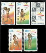 INDONESIA 1992 - OLYMPICS BARCELONA '92 - YVERT Nº 1299-1303 - MICHEL 1421-1425 - SCOTT 1503-1507 - Verano 1992: Barcelona