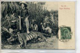 "MALAISIE PENANG Tiger Hunting Chasse Au Tigre ""Fier Chasseur "" Et Son Fusil Indigènes écrite Timbrée   /D14-S2017 - Malaysia"