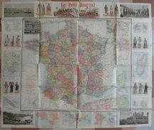 GRANDE CARTE De LA FRANCE Et Ses COLONIES EDITÉE Par LE PETIT JOURNAL Avec BELLES ILLUSTRATIONS - Cartes Géographiques