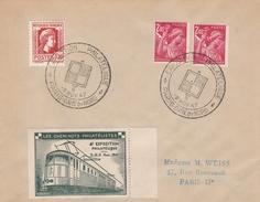 OBLIT. G.F. EXPO. PHIL. PARIS GARE DU NORD 11/1947 Avec BELLE VIGNETTE TRAIN - Commemorative Labels