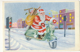 Red Robe Santa Claus In Scooter Vespa Used From Belgrad Size 14,5 By 9,7 Cm - Santa Claus