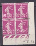 N°190 V Type Semeuse Fond Plein Coins Datés 2.11.34 Neuf Impeccable - ....-1929