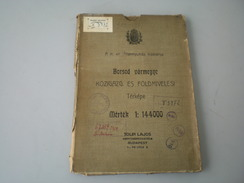 Borsod Varmegye Kozigazgatasi Es Foldmivelesi Terkepe  63x78 Cm - Carte Geographique