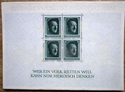 DR Hitler Block 7 Ungebraucht Aufgeklebt Auf Karte Wir Danken Unserem F....... Unikat - Deutschland