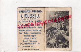 87 -LIMOGES- CARNET Mini  PETIT CALENDRIER 1929- HERBORISTERIE PARISIENNE PARFUMERIE- -A. ROUSSEILLE 35 FG. DE PARIS - - Kalenders