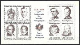 Monaco Yv  BF 72**annales Monégasques:St.Nicolas,H.Berlioz,G.Apollinaire,Machiavel,J.B.Bosio,Colette,F.J.Bosio,Montaigne - Famous People