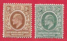 Afrique Orientale Britannique N°124 1c Brun & N°125 3c Vert 1907 * - Kenya, Uganda & Tanganyika