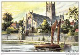 BX44.Vintage Postcard.Worcester.Boats On River.By Arthur C Payne.Duplex Postmark - Worcestershire
