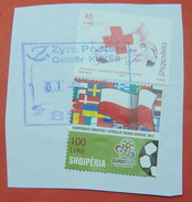 1 - 8 - 2017 ALBANIAN STAMPS, 150 YEARS RED CROSS IN ALBANIA, EURO FOOTBALL 2012 Postmark KUKES - Albania
